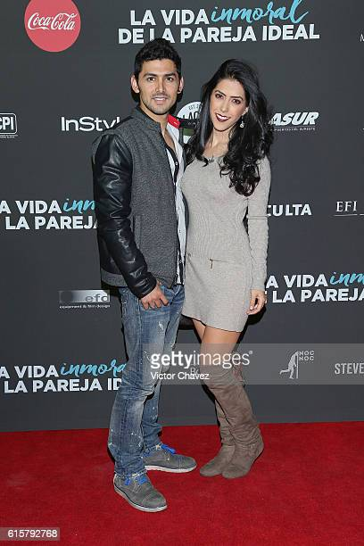 Miguel Martinez and Daniela Basso attend La Vida Inmoral De La Pareja Ideal Mexico City premiere at Teatro Metropolitan on October 19 2016 in Mexico...