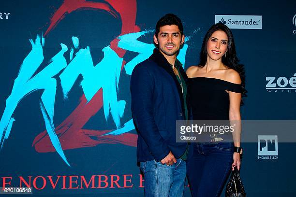 Miguel Martinez and Daniela Basso pose during the premiere of the movie 'KM 312' on October 31 in Mexico City Mexico