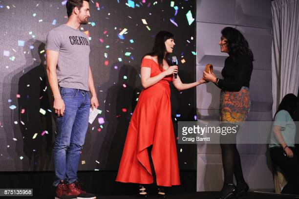 Miguel McKelvey Adi Neumann and Rachel Sumekh attend WeWork Celebrates the New York Creator Awards at Skylight Clarkson Sq on November 16 2017 in New...