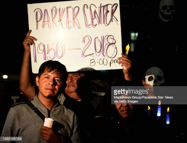 Miguel Mendez cries during a housing and homeless advocates funeral procession and Candlelight March to mourn the destruction of the former LA police...
