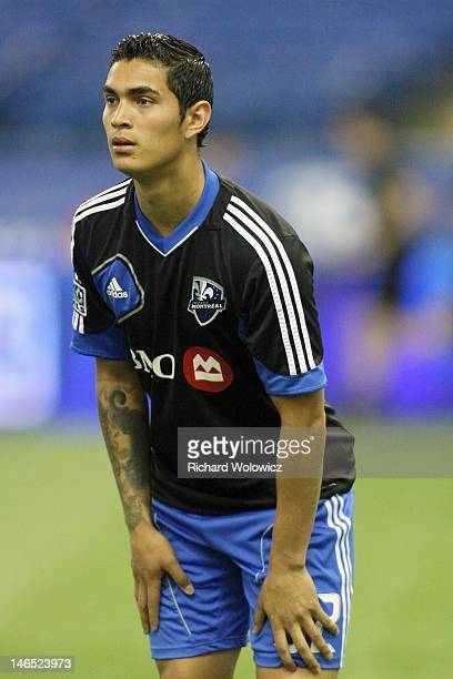 Miguel Montano of the Montreal Impact warms up during the warm up period prior to facing the New York Red Bulls in their match at the Olympic Stadium...