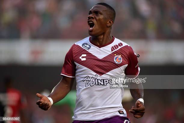 Miguel Murillo of Veracruz celebrates after scoring the first goal of his team during the 12th round match between Veracruz and Atlas as part of the...