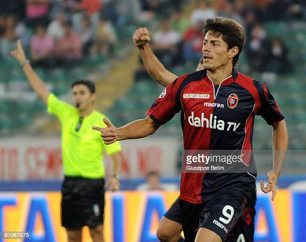 Miguel Nene of Cagliari Calcio celebrates the opening goal during the Serie A match between Bari and Cagliari at Stadio San Nicola on September 23,...