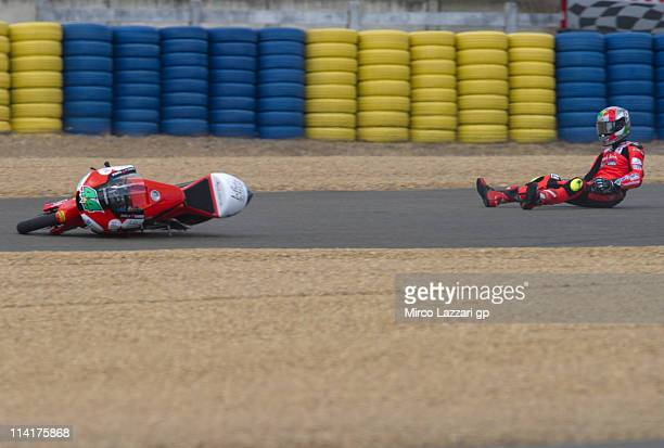 Miguel Oliveira of Portugal and Andalucia Cajasol crashed out during the qualifying practice during the MotoGP of France in Le Mans Circuit on May 14...