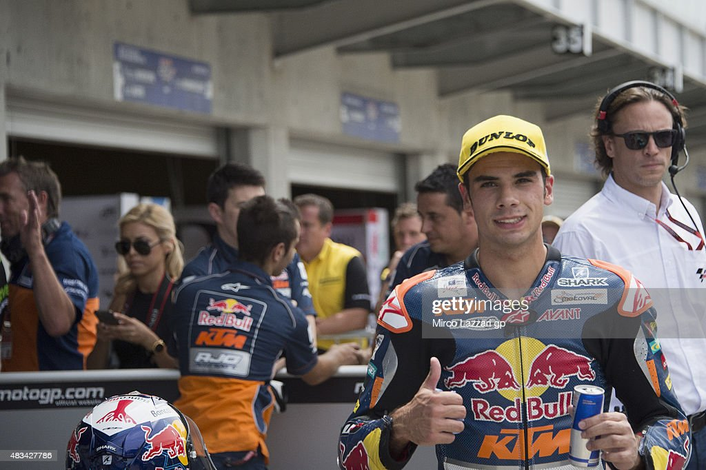 Miguel Oliveira of Portugal and Red Bull KTM Ajo celebrates at the end of the qualifying practice during the MotoGp Red Bull U.S. Indianapolis Grand Prix - Qualifying at Indianapolis Motor Speedway on August 8, 2015 in Indianapolis, Indiana.