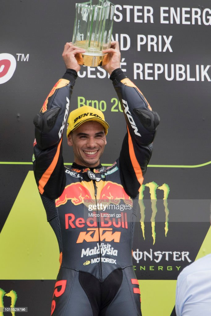 Miguel Oliveira of Portugal and Red Bull KTM Ajo celebrates the victory on the podium at the end of the Moto2 Race during the MotoGp of Czech Republic - Race at Brno Circuit on August 5, 2018 in Brno, Czech Republic.