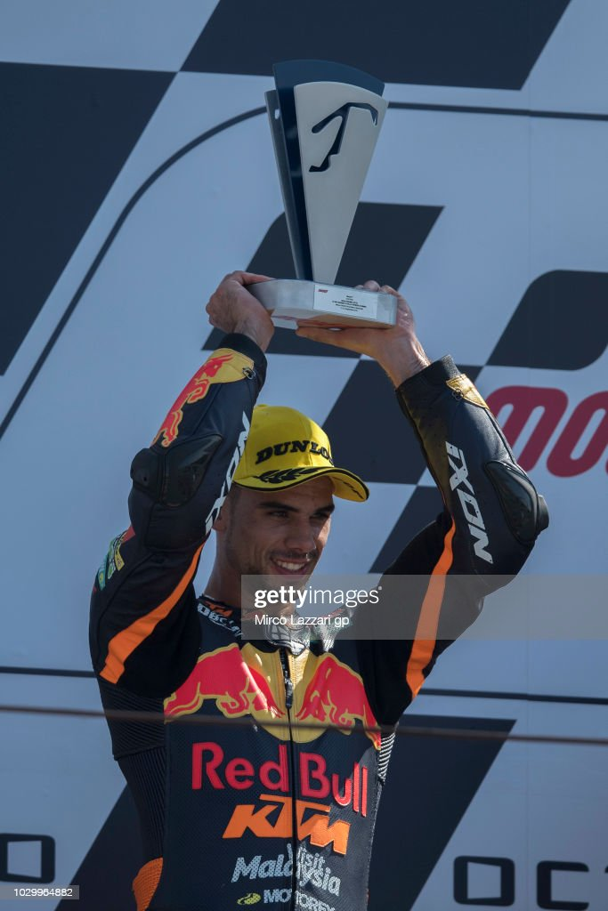Miguel Oliveira of Portugal and Red Bull KTM Ajo celebrates the second place on the podium at the end of the Moto2 race during the MotoGP of San Marino - Race at Misano World Circuit on September 9, 2018 in Misano Adriatico, Italy.