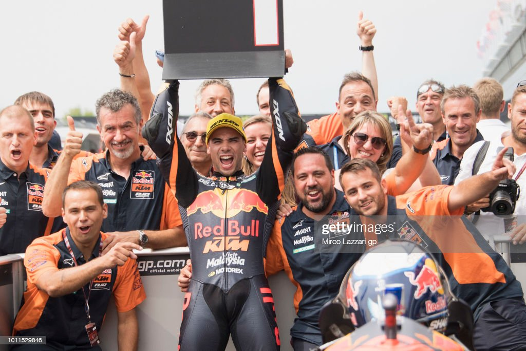 Miguel Oliveira of Portugal and Red Bull KTM Ajo celebrates the victory with team at the end of the Moto2 Race during the MotoGp of Czech Republic - Race at Brno Circuit on August 5, 2018 in Brno, Czech Republic.