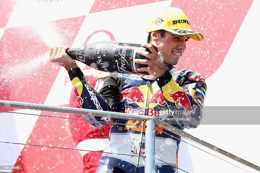 Miguel Oliveira of Portugal and Red Bull KTM Ajo celebrates winning the Moto3 race during the 2015 MotoGP of Australia at Phillip Island Grand Prix Circuit on October 18, 2015 in Phillip Island, Australia.