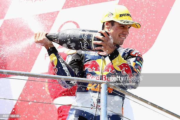 Miguel Oliveira of Portugal and Red Bull KTM Ajo celebrates winning the Moto3 race during the 2015 MotoGP of Australia at Phillip Island Grand Prix...
