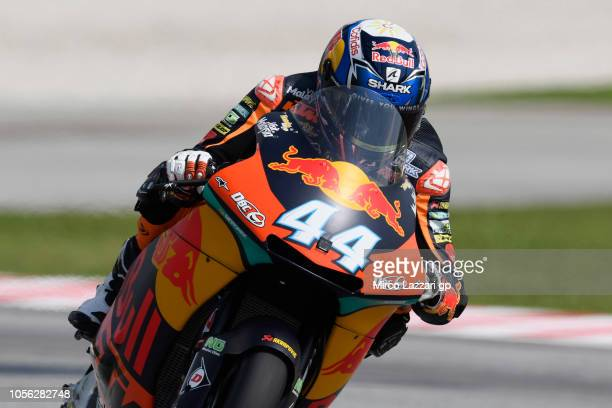 Miguel Oliveira of Portugal and Red Bull KTM Ajo heads down a straight during the MotoGP Of Malaysia Free Practice at Sepang Circuit on November 2...