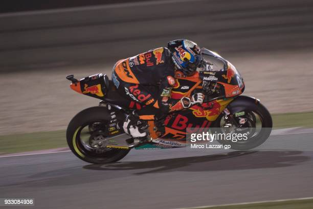Miguel Oliveira of Portugal and Red Bull KTM Ajo heads down a straight during the MotoGP of Qatar Qualifying at Losail Circuit on March 17 2018 in...