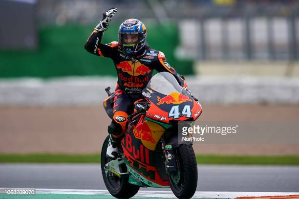 Miguel Oliveira of Portugal and Red Bull KTM Ajo KTM celebrates the victory during the race of the Gran Premio Motul de la Comunitat Valenciana of...