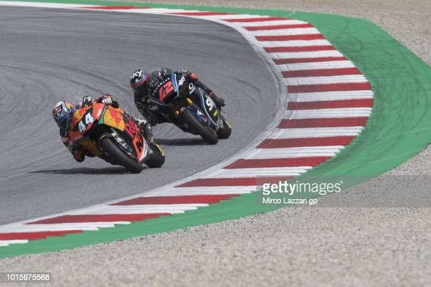 Miguel Oliveira of Portugal and Red Bull KTM Ajo leads Francesco Bagnaia of Italy and Sky Racing Team VR46 during the Moto2 race during the MotoGp of...