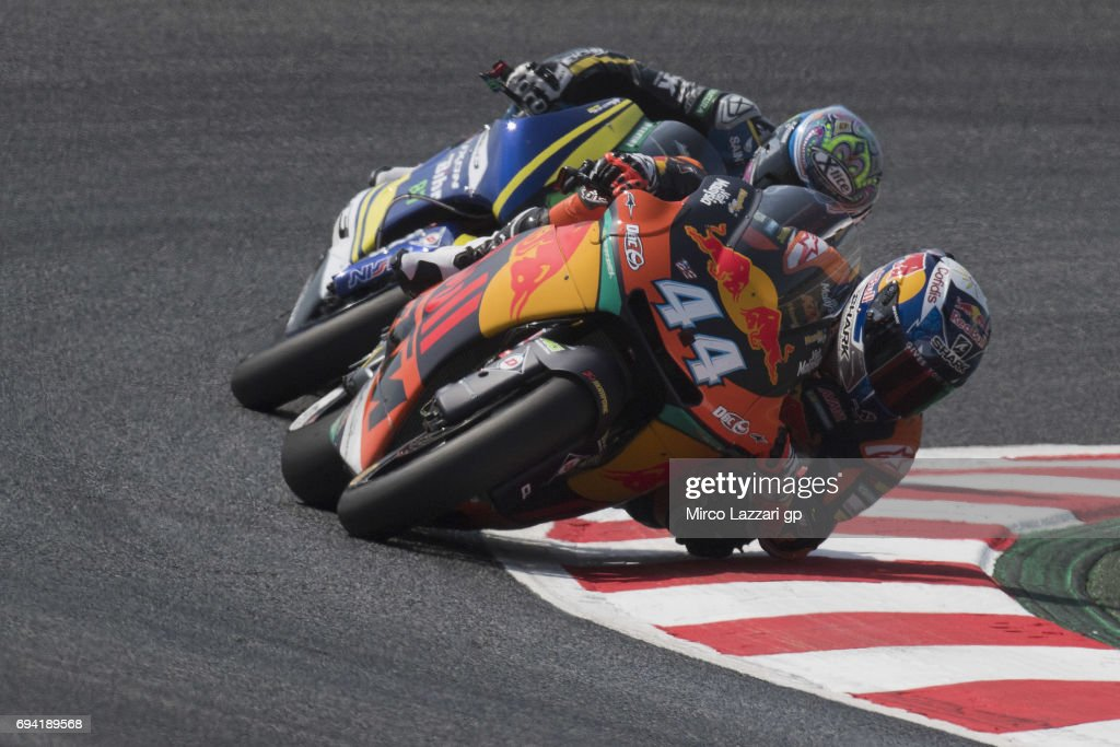Miguel Oliveira of Portugal and Red Bull KTM Ajo leads the field during the MotoGp of Catalunya - Free Practice at Circuit de Catalunya on June 9, 2017 in Montmelo, Spain.