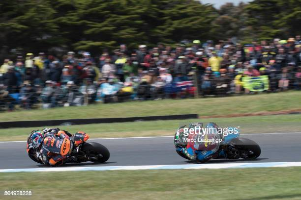 Miguel Oliveira of Portugal and Red Bull KTM Ajo leads the field during the Moto2 race during the 2017 MotoGP of Australia at Phillip Island Grand...