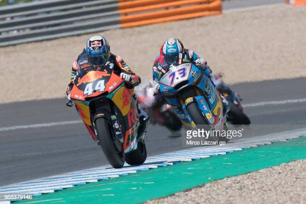 Miguel Oliveira of Portugal and Red Bull KTM Ajo leads the field during the Moto2 race during the MotoGp of Spain Race at Circuito de Jerez on May 6...