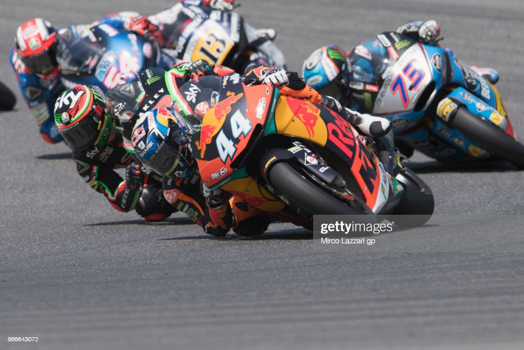 Miguel Oliveira of Portugal and Red Bull KTM Ajo leads the field during the Moto2 race during the MotoGp of Italy - Race at Mugello Circuit on June 3, 2018 in Scarperia, Italy.