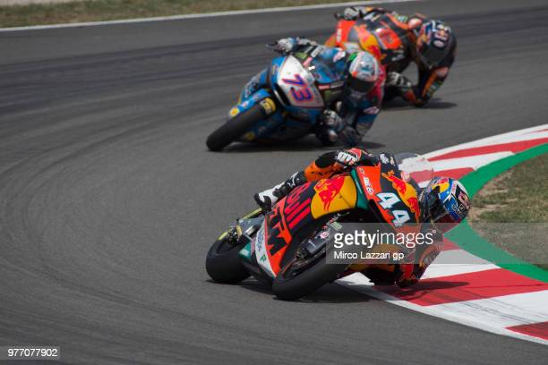 Miguel Oliveira of Portugal and Red Bull KTM Ajo leads the field during the Moto2 race during the MotoGp of Catalunya Race at Circuit de Catalunya on...