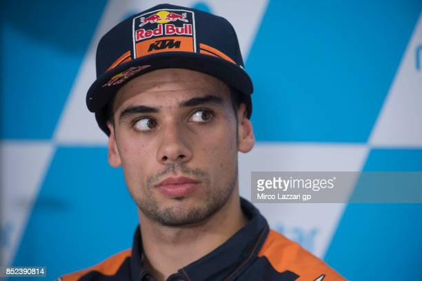 Miguel Oliveira of Portugal and Red Bull KTM Ajo looks on during the press conference at the end of the qualifying practice during the MotoGP of...