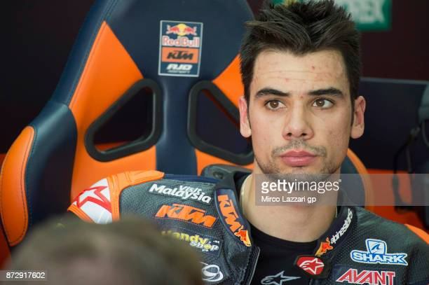 Miguel Oliveira of Portugal and Red Bull KTM Ajo looks on in box during the qualifying practice during the Comunitat Valenciana Grand Prix Moto GP...
