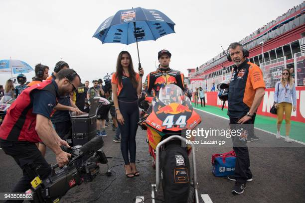 Miguel Oliveira of Portugal and Red Bull KTM Ajo prepares to start on the grid during the Moto2 race during the MotoGp of Argentina Race on April 8...