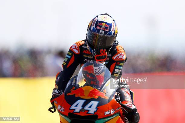 Miguel Oliveira of Portugal and Red Bull KTM Ajo reacts as he enters the pit lane after finishwing third in the Moto2 race at Motorland Aragon...