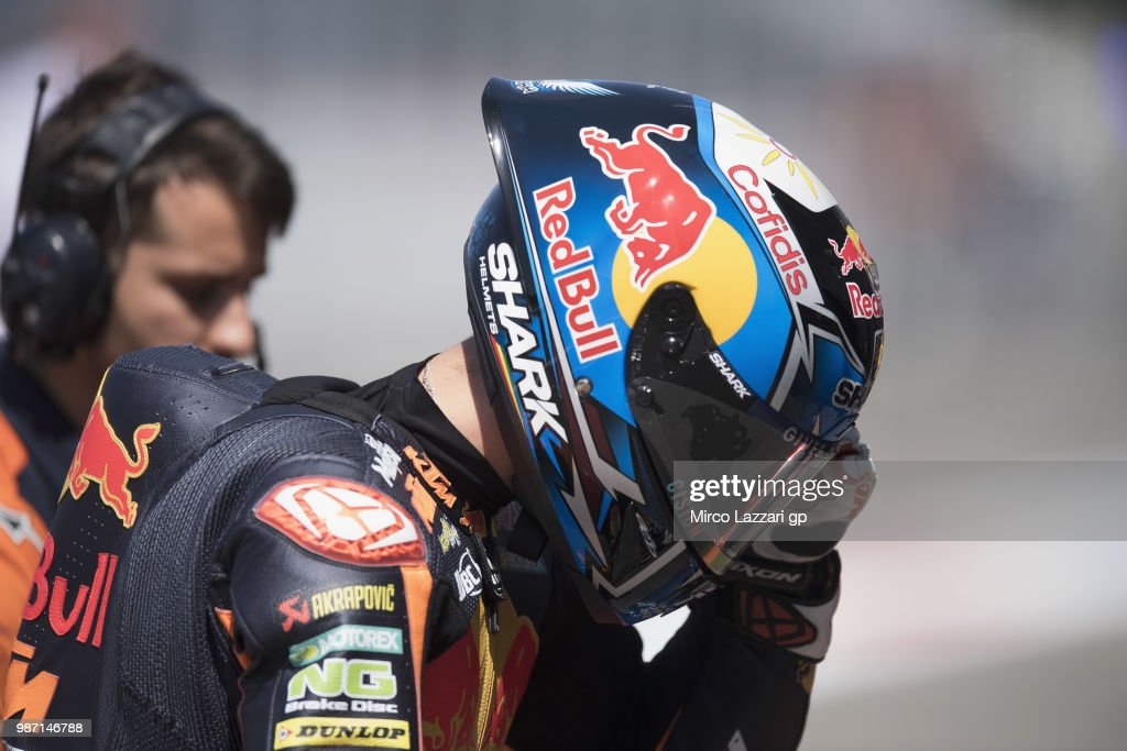 Miguel Oliveira of Portugal and Red Bull KTM Ajo returns in box during the MotoGP Netherlands - Free Practice on June 29, 2018 in Assen, Netherlands.