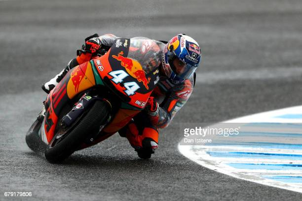 Miguel Oliveira of Portugal and Red Bull KTM Ajo rides during free practice for Moto2 at Circuito de Jerez on May 5 2017 in Jerez de la Frontera Spain