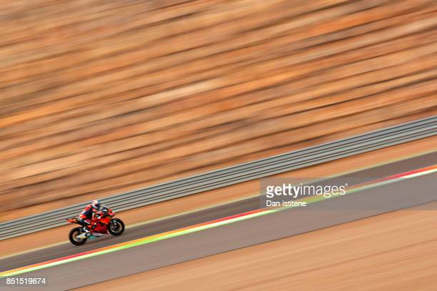Miguel Oliveira of Portugal and Red Bull KTM Ajo rides during Moto2 practice ahead of the MotoGP of Aragon at Motorland Aragon Circuit on September...