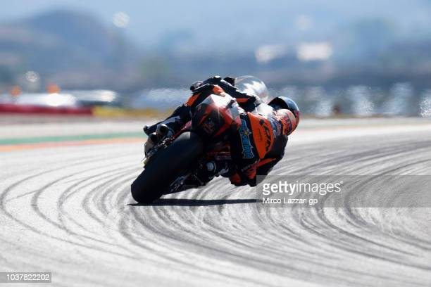 Miguel Oliveira of Portugal and Red Bull KTM Ajo rounds the bend during the qualifying practice during the MotoGP of Aragon Qualifying at Motorland...