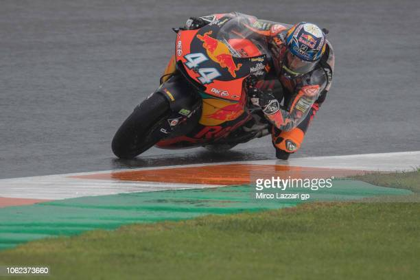 Miguel Oliveira of Portugal and Red Bull KTM Ajo rounds the bend during the MotoGP Of Valencia Free Practice at Ricardo Tormo Circuit on November 16...