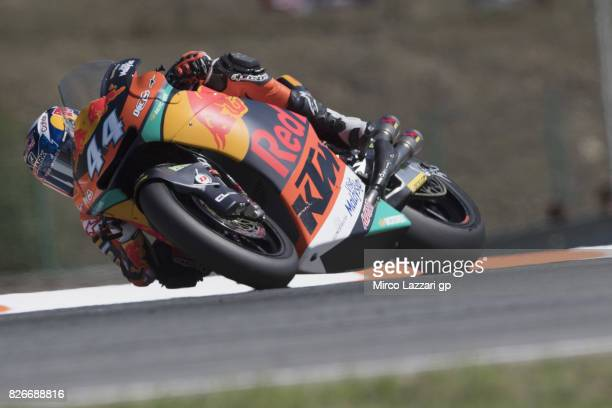 Miguel Oliveira of Portugal and Red Bull KTM Ajo rounds the bend during the MotoGp of Czech Republic Qualifying at Brno Circuit on August 5 2017 in...