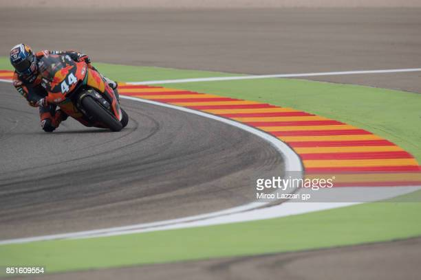 Miguel Oliveira of Portugal and Red Bull KTM Ajo rounds the bend during the MotoGP of Aragon Free Practice at Motorland Aragon Circuit on September...