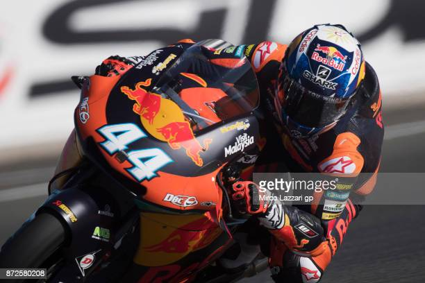 Miguel Oliveira of Portugal and Red Bull KTM Ajo rounds the bend during the Comunitat Valenciana Grand Prix Moto GP Previews at Comunitat Valenciana...