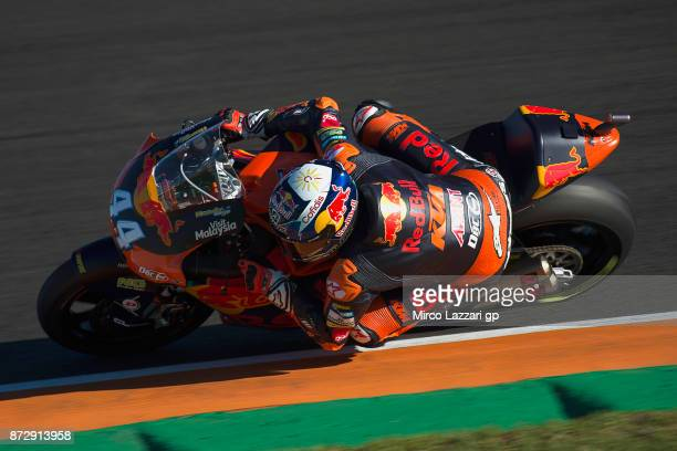 Miguel Oliveira of Portugal and Red Bull KTM Ajo rounds the bend during the qualifying practice during the Comunitat Valenciana Grand Prix Moto GP...