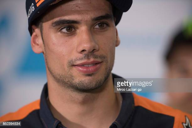 Miguel Oliveira of Portugal and Red Bull KTM Ajo smiles during the press conference at the end of the qualifying practice during the MotoGP of Aragon...