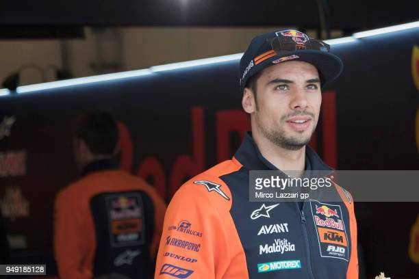 Miguel Oliveira of Portugal and Red Bull KTM Ajo smiles in front of box during the MotoGp Red Bull US Grand Prix of The Americas Free Practice at...