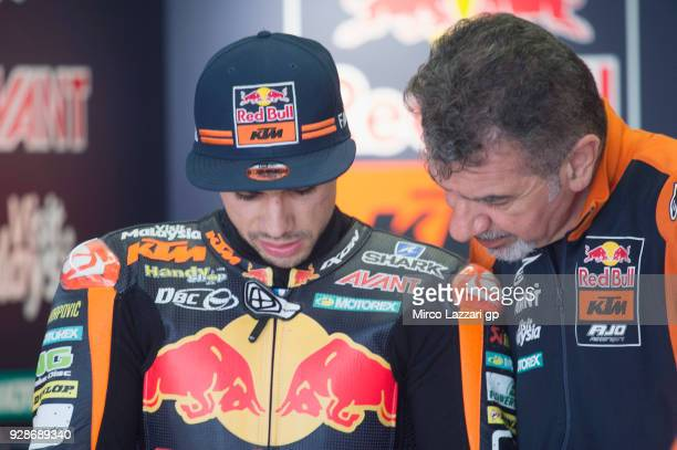 Miguel Oliveira of Portugal and Red Bull KTM Ajo speaks with mechanic in box during the Moto2 Moto3 Tests In Jerez at Circuito de Jerez on March 7...
