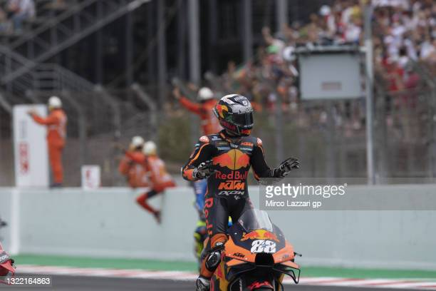 Miguel Oliveira of Portugal and Red Bull KTM Factory Racing celebrates the victory at the end of the MotoGP race during the MotoGP of Catalunya -...