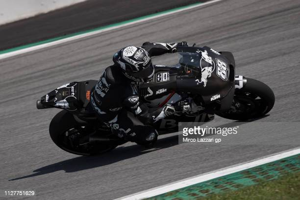 Miguel Oliveira of Portugal and Team KTM Tech 3 rounds the bend during the MotoGP Tests In Sepang at Sepang Circuit on February 06 2019 in Kuala...
