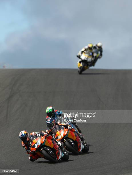Miguel Oliveira of Portugal rides the Red Bull KTM AJO KTM celebrates after winning the Moto2 race during the 2017 MotoGP of Australia at Phillip...