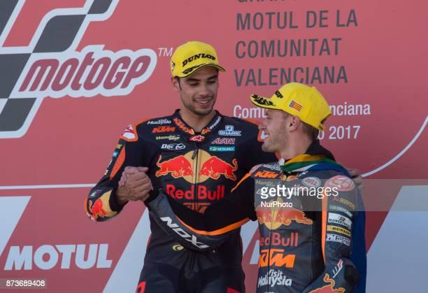 Miguel Oliveira Red Bull Ktm Ajo Ktm and Brad Binder Red Bull Ktm Ajo Ktm during the race day of the Gran Premio Motul de la Comunitat Valenciana...