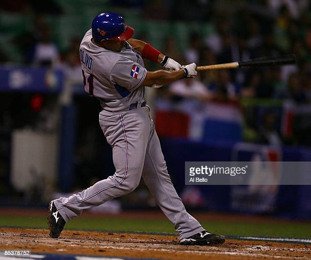Miguel Olivo of The Dominican Republic bats against The Netherlands during the 2009 World Baseball Classic Pool D match on March 10 2009 at Hiram...