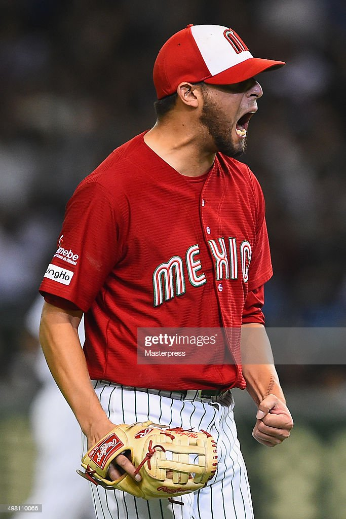 Miguel Pena #5 of Mexico reacts in the bottom half of the second inning during the WBSC Premier 12 third place play off match between Japan and Mexico at the Tokyo Dome on November 21, 2015 in Tokyo, Japan.