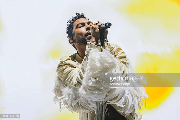 Miguel performs on stage at First Direct Arena on October 17 2015 in Leeds England