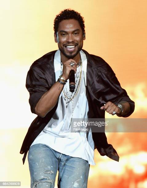 Miguel performs onstage at WELCOME Fundraising Concert Benefiting The ACLU presented by Zedd at Staples Center on April 3 2017 in Los Angeles...