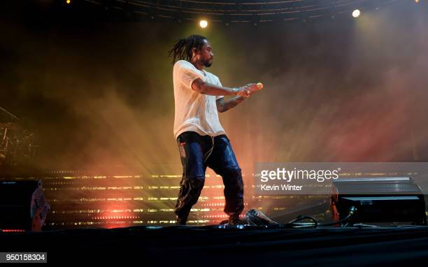 Miguel performs onstage during the 2018 Coachella Valley Music And Arts Festival at the Empire Polo Field on April 22 2018 in Indio California