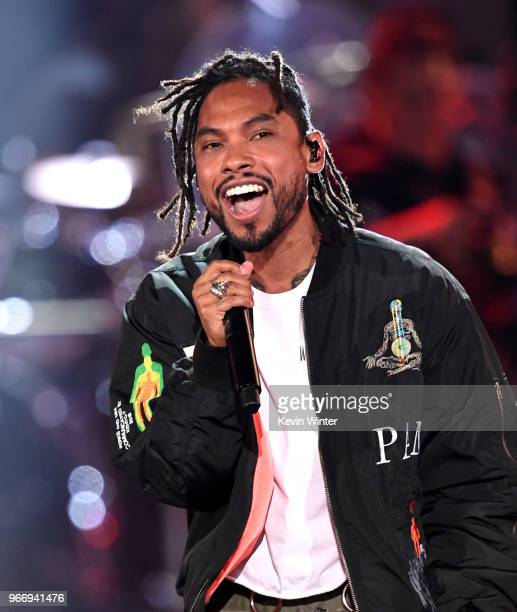 Miguel performs onstage during the 2018 iHeartRadio by ATT at Banc of California Stadium on June 2 2018 in Los Angeles California