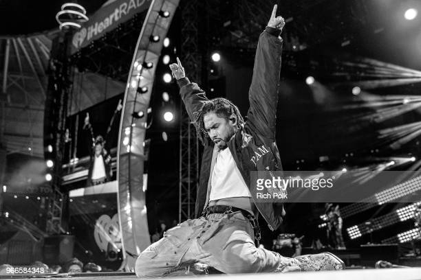 Miguel performs onstage during the 2018 iHeartRadio Wango Tango by ATT at Banc of California Stadium on June 2 2018 in Los Angeles California